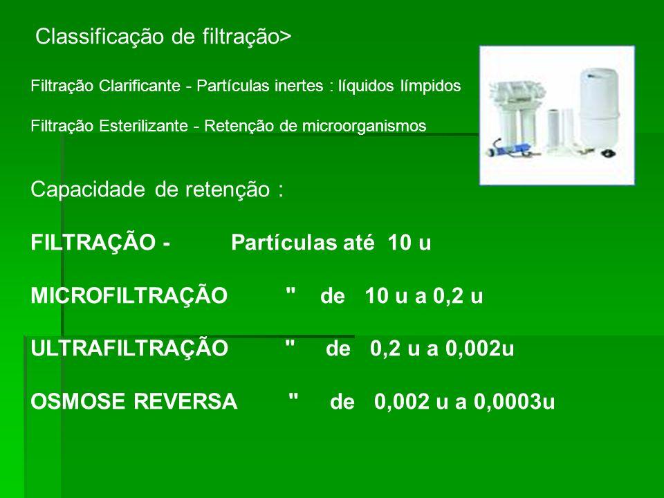 Capacidade de retenção : FILTRAÇÃO - Partículas até 10 u