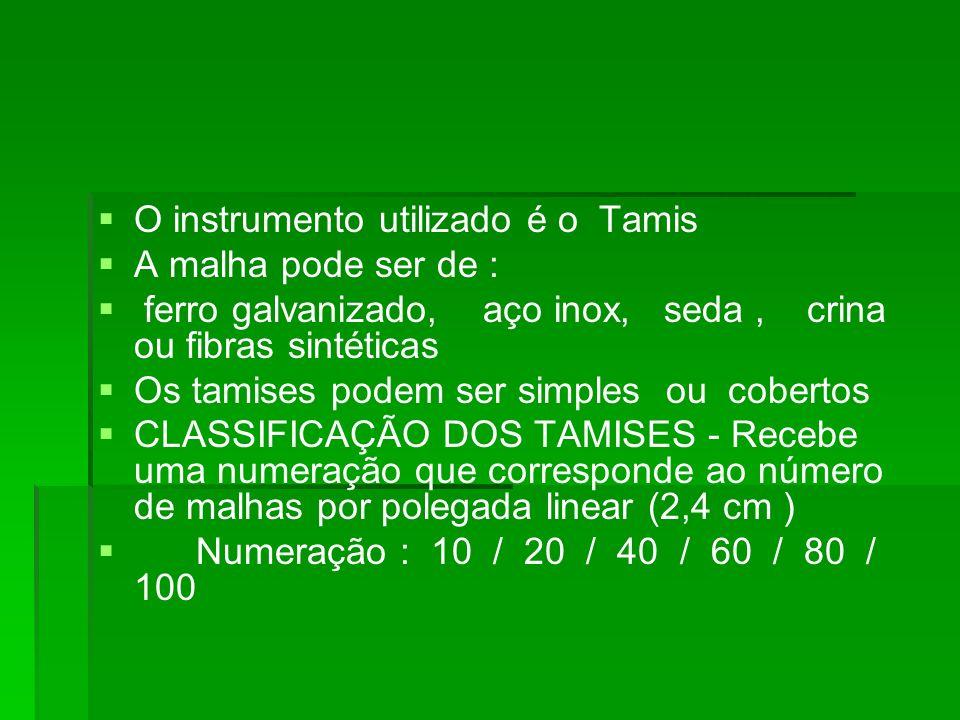 O instrumento utilizado é o Tamis