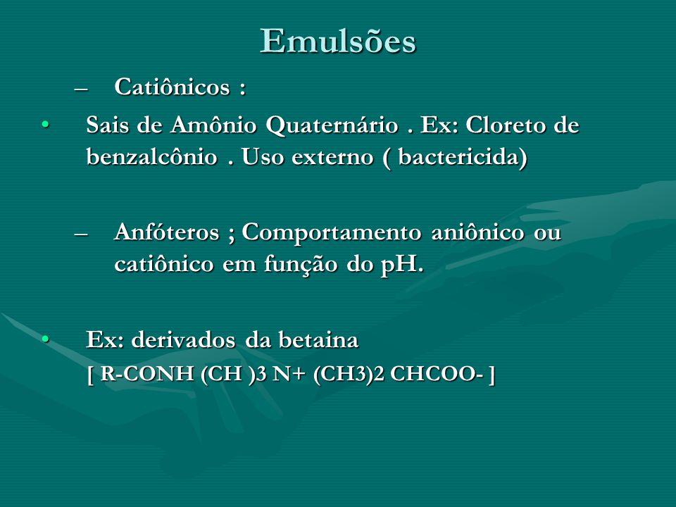 Emulsões Catiônicos : Sais de Amônio Quaternário . Ex: Cloreto de benzalcônio . Uso externo ( bactericida)
