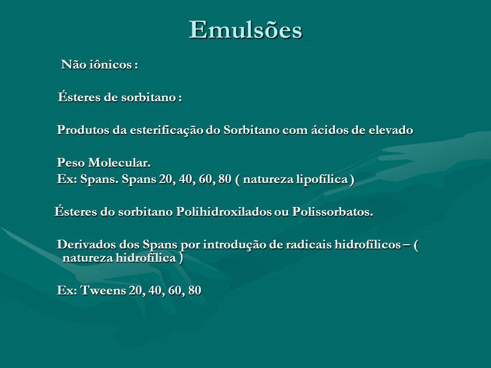 Emulsões Não iônicos : Ésteres de sorbitano :
