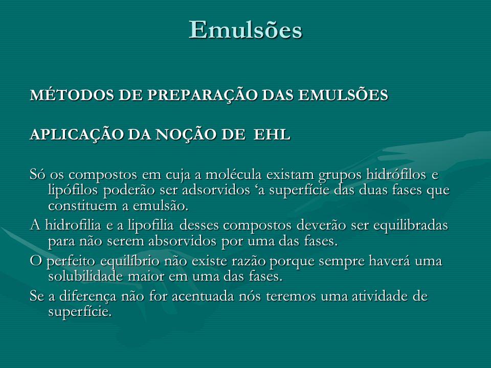 Emulsões MÉTODOS DE PREPARAÇÃO DAS EMULSÕES APLICAÇÃO DA NOÇÃO DE EHL