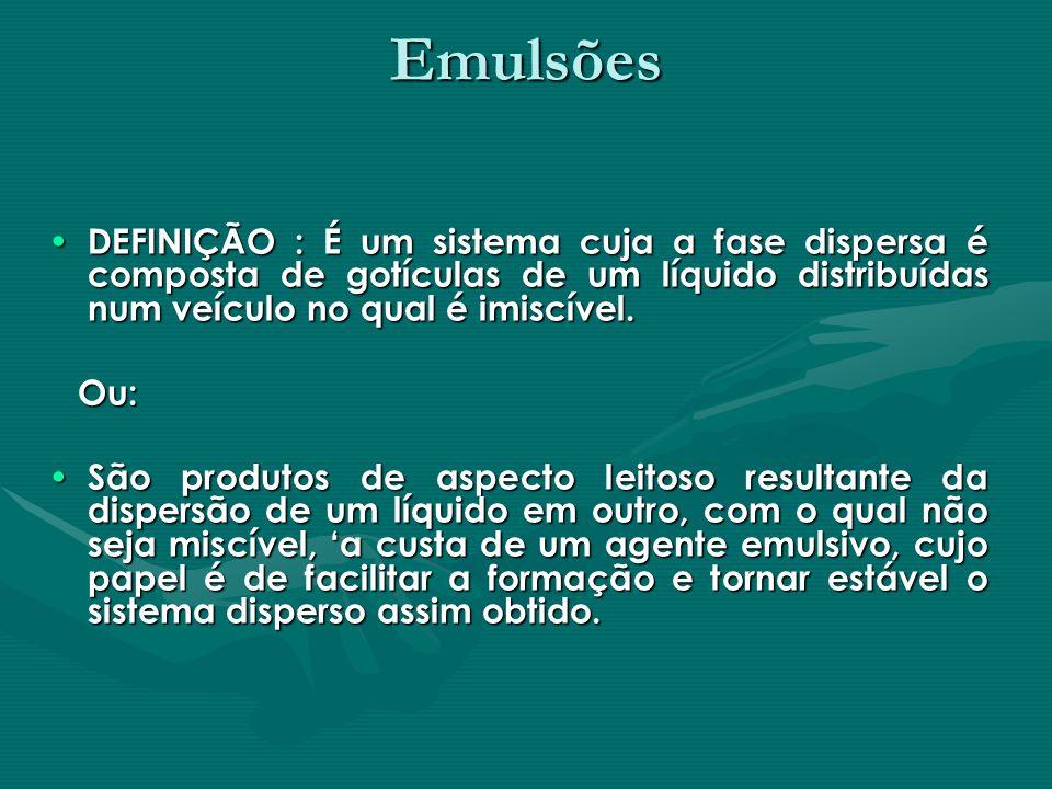 Emulsões DEFINIÇÃO : É um sistema cuja a fase dispersa é composta de gotículas de um líquido distribuídas num veículo no qual é imiscível.