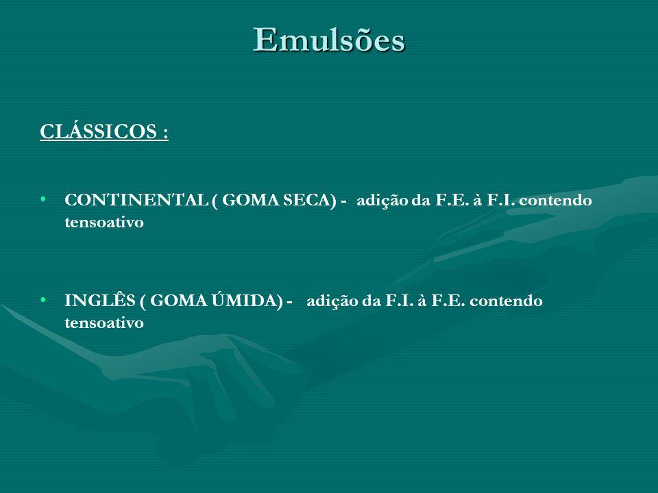 Emulsões CLÁSSICOS : CONTINENTAL ( GOMA SECA) - adição da F.E. à F.I. contendo tensoativo.