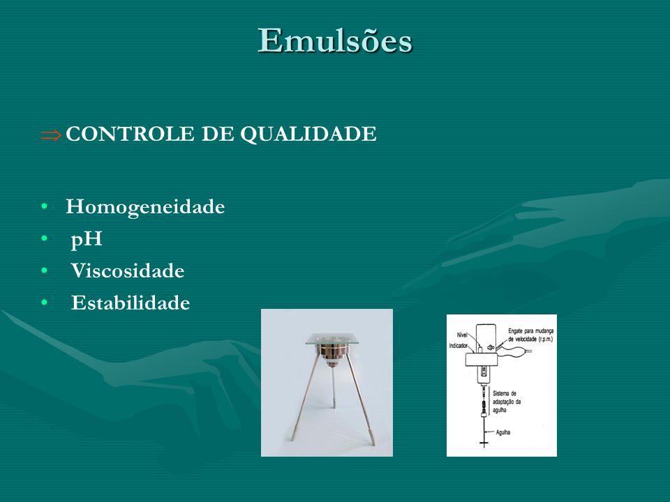 Emulsões CONTROLE DE QUALIDADE Homogeneidade pH Viscosidade