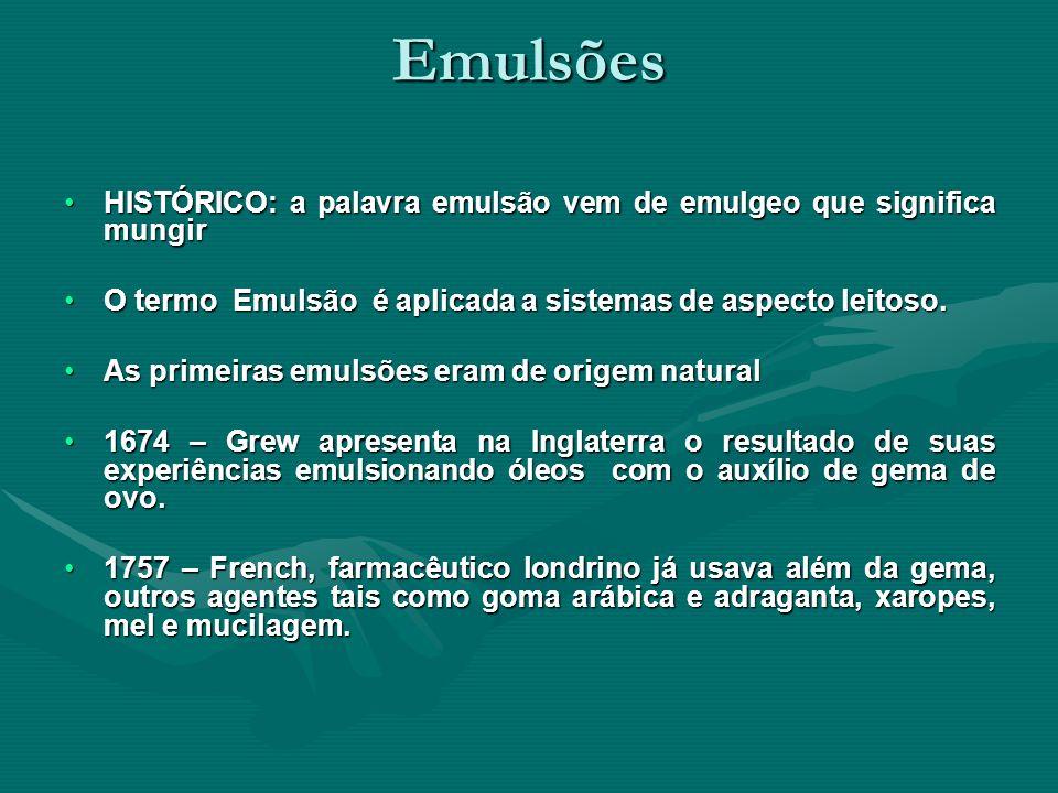 Emulsões HISTÓRICO: a palavra emulsão vem de emulgeo que significa mungir. O termo Emulsão é aplicada a sistemas de aspecto leitoso.