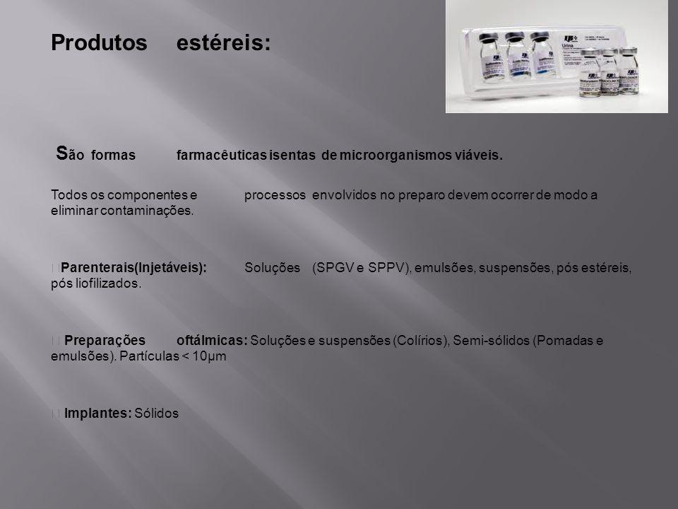 Produtos estéreis:São formas farmacêuticas isentas de microorganismos viáveis.