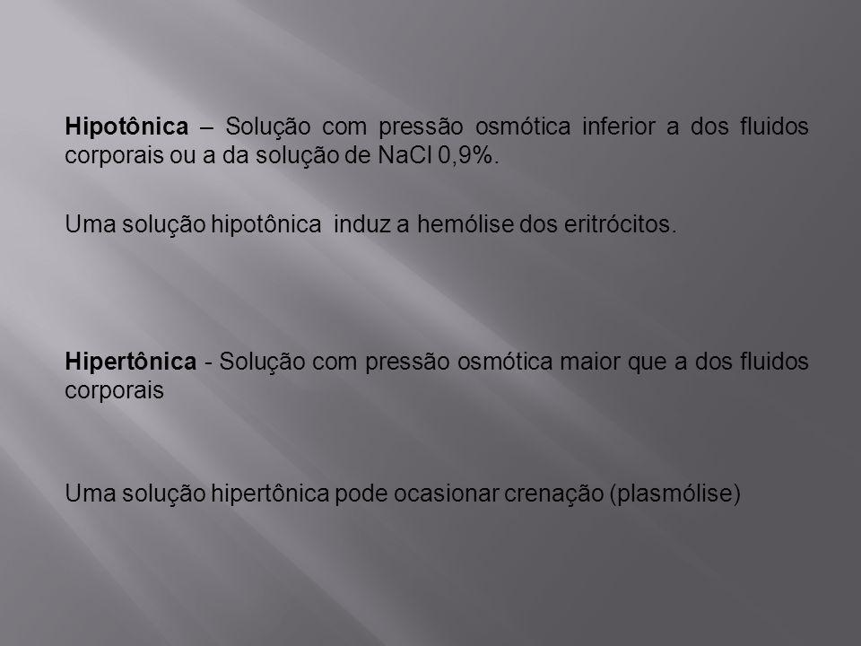 Hipotônica – Solução com pressão osmótica inferior a dos fluidos corporais ou a da solução de NaCl 0,9%.