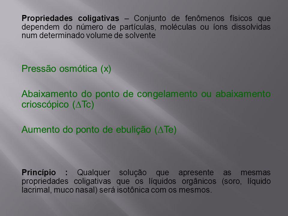 Abaixamento do ponto de congelamento ou abaixamento crioscópico (∆Tc)