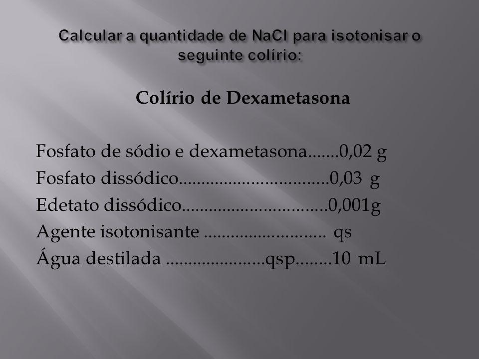 Calcular a quantidade de NaCl para isotonisar o seguinte colírio: