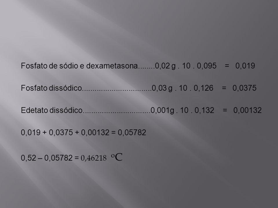 Fosfato de sódio e dexametasona........0,02 g . 10 . 0,095 = 0,019