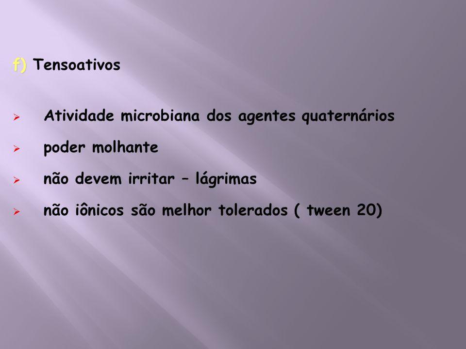 f) Tensoativos Atividade microbiana dos agentes quaternários. poder molhante. não devem irritar – lágrimas.