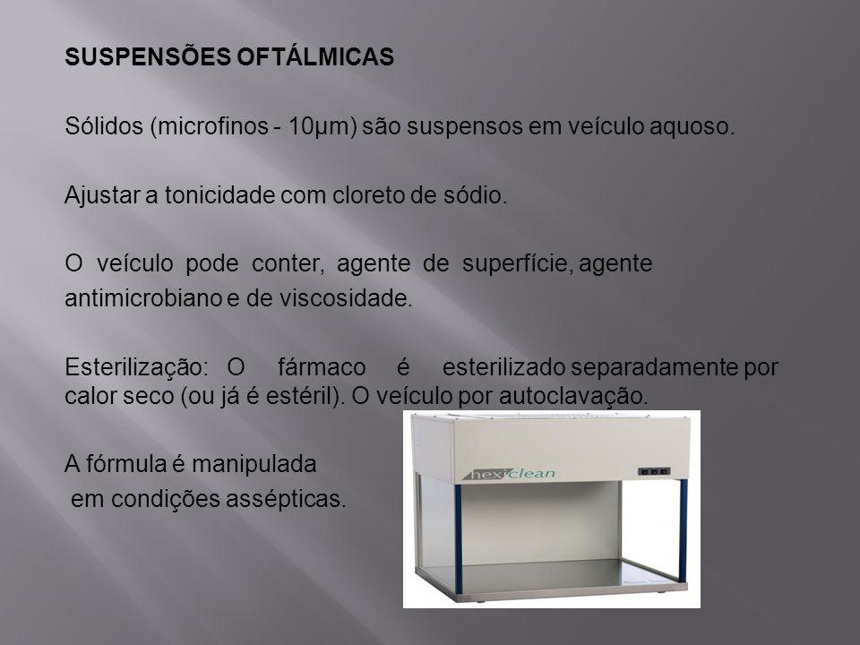 SUSPENSÕES OFTÁLMICAS Sólidos (microfinos - 10µm) são suspensos em veículo aquoso.