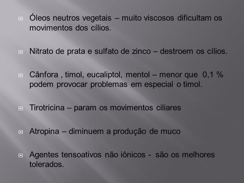 Óleos neutros vegetais – muito viscosos dificultam os movimentos dos cílios.