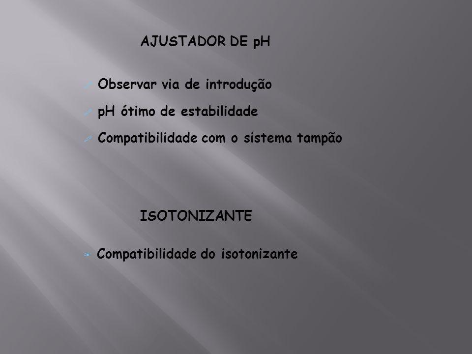 AJUSTADOR DE pHObservar via de introdução. pH ótimo de estabilidade. Compatibilidade com o sistema tampão.