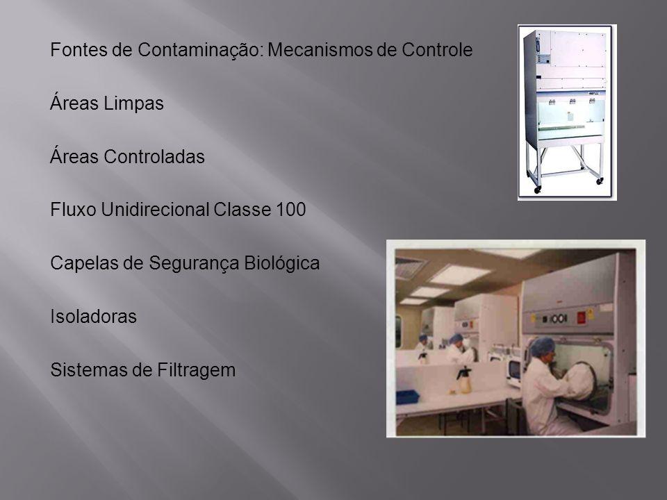 Fontes de Contaminação: Mecanismos de Controle Áreas Limpas Áreas Controladas Fluxo Unidirecional Classe 100 Capelas de Segurança Biológica Isoladoras Sistemas de Filtragem