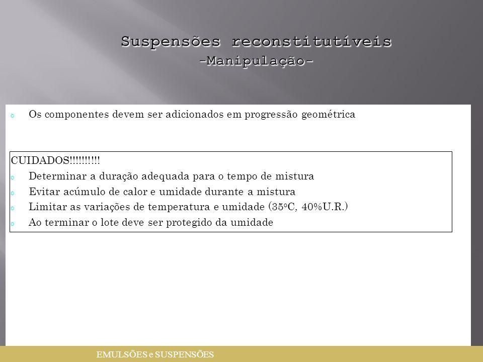 Suspensões reconstitutíveis -Manipulação-
