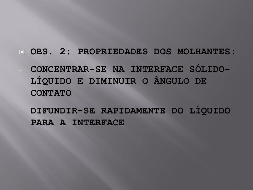 OBS. 2: PROPRIEDADES DOS MOLHANTES: