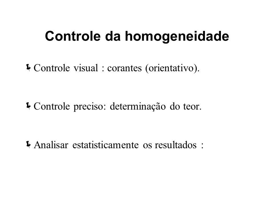 Controle da homogeneidade