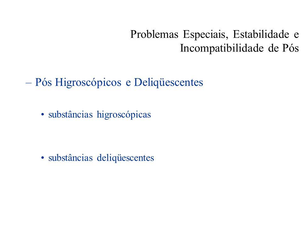 Problemas Especiais, Estabilidade e Incompatibilidade de Pós