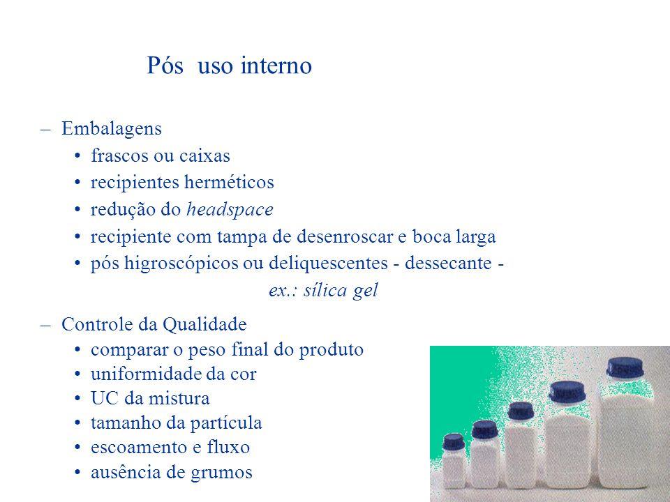 Pós uso interno Embalagens frascos ou caixas recipientes herméticos