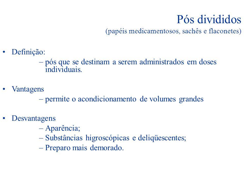 Pós divididos (papéis medicamentosos, sachês e flaconetes)