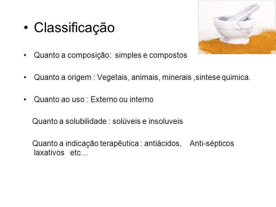 Classificação Quanto a composição: simples e compostos