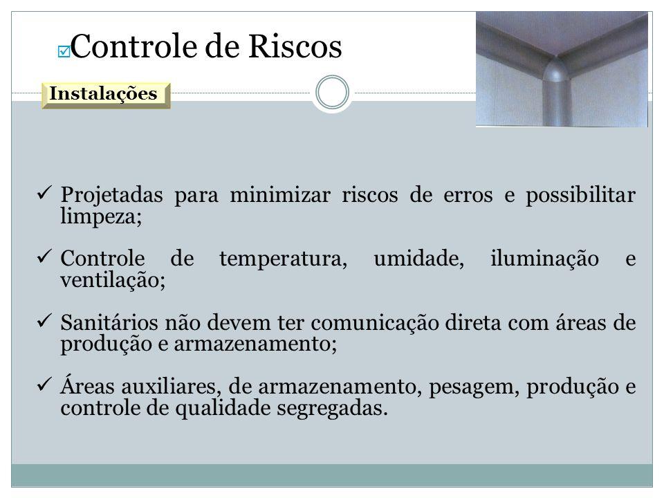 Projetadas para minimizar riscos de erros e possibilitar limpeza;