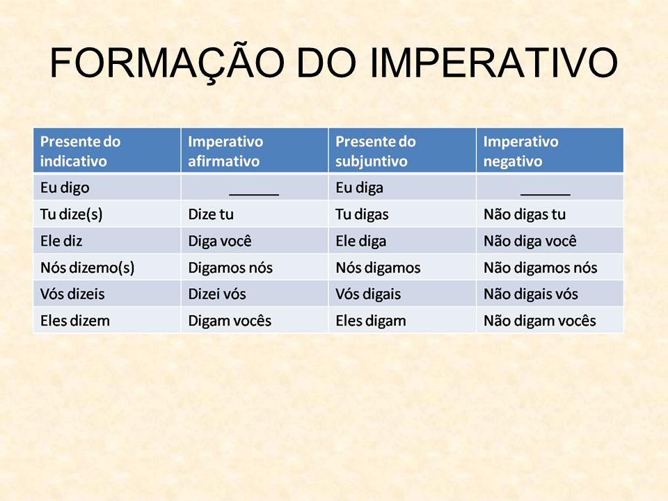 FORMAÇÃO DO IMPERATIVO