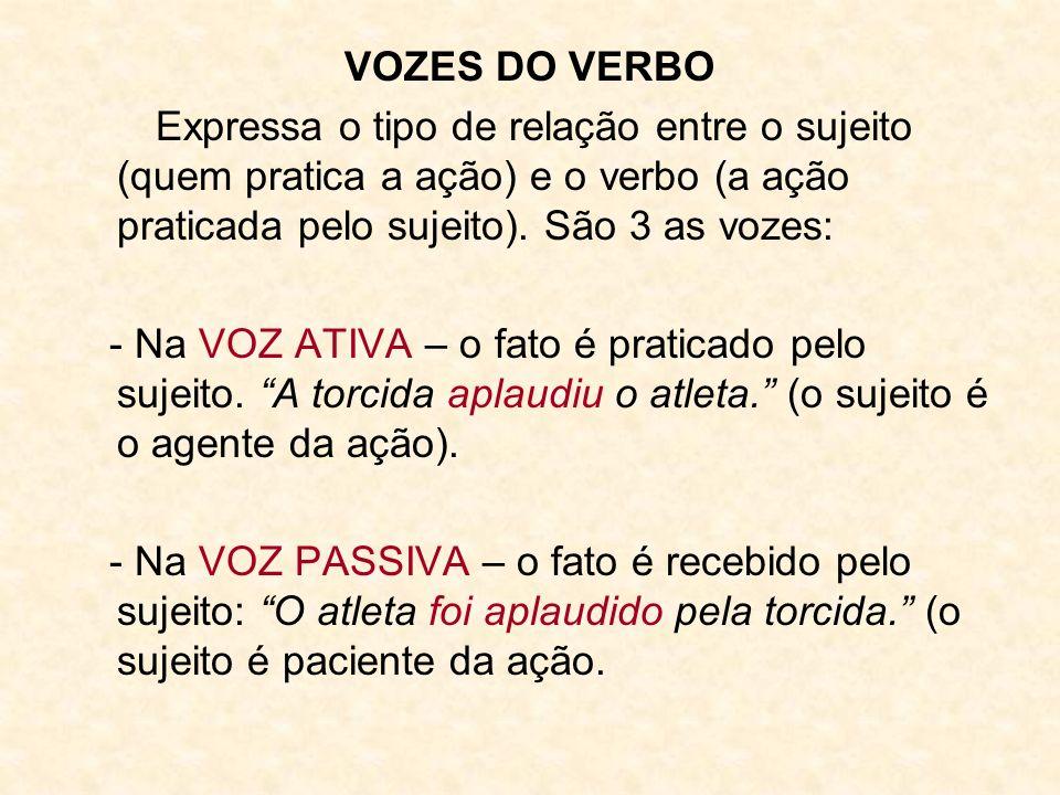 VOZES DO VERBO Expressa o tipo de relação entre o sujeito (quem pratica a ação) e o verbo (a ação praticada pelo sujeito). São 3 as vozes:
