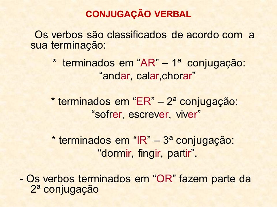 Os verbos são classificados de acordo com a sua terminação: