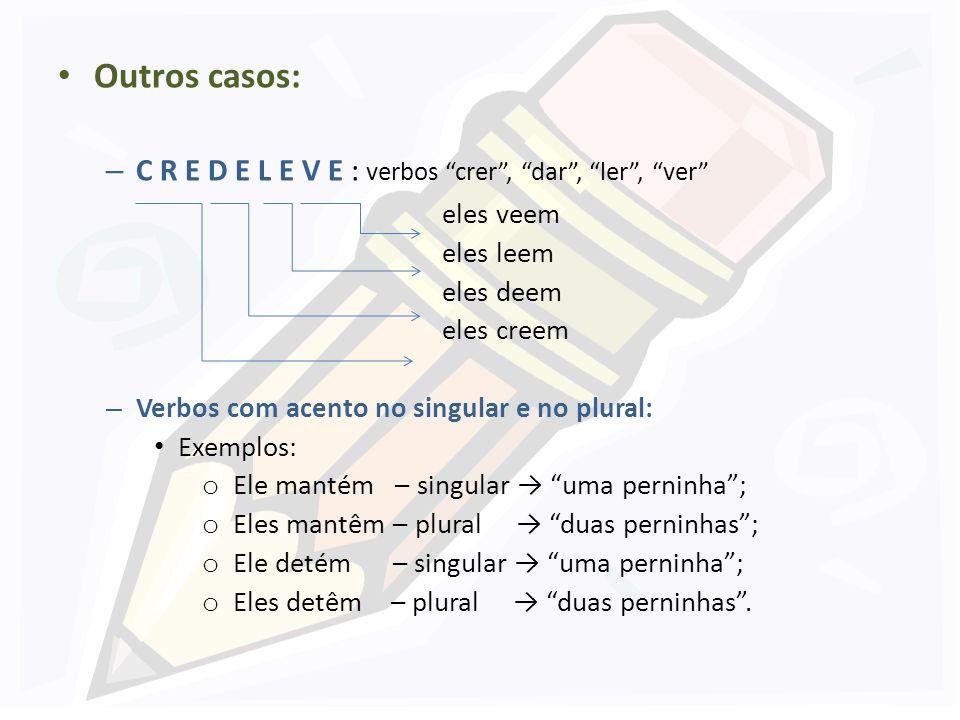 Outros casos: C R E D E L E V E : verbos crer , dar , ler , ver