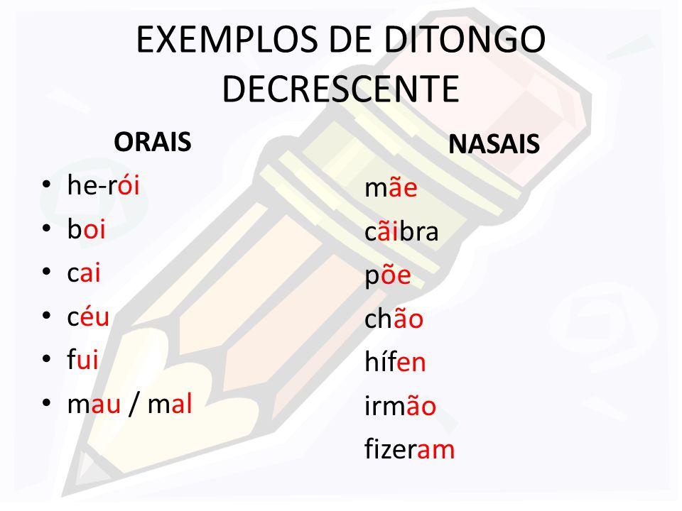 EXEMPLOS DE DITONGO DECRESCENTE