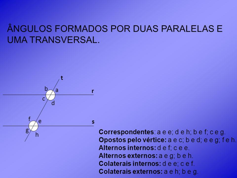 ÂNGULOS FORMADOS POR DUAS PARALELAS E UMA TRANSVERSAL.