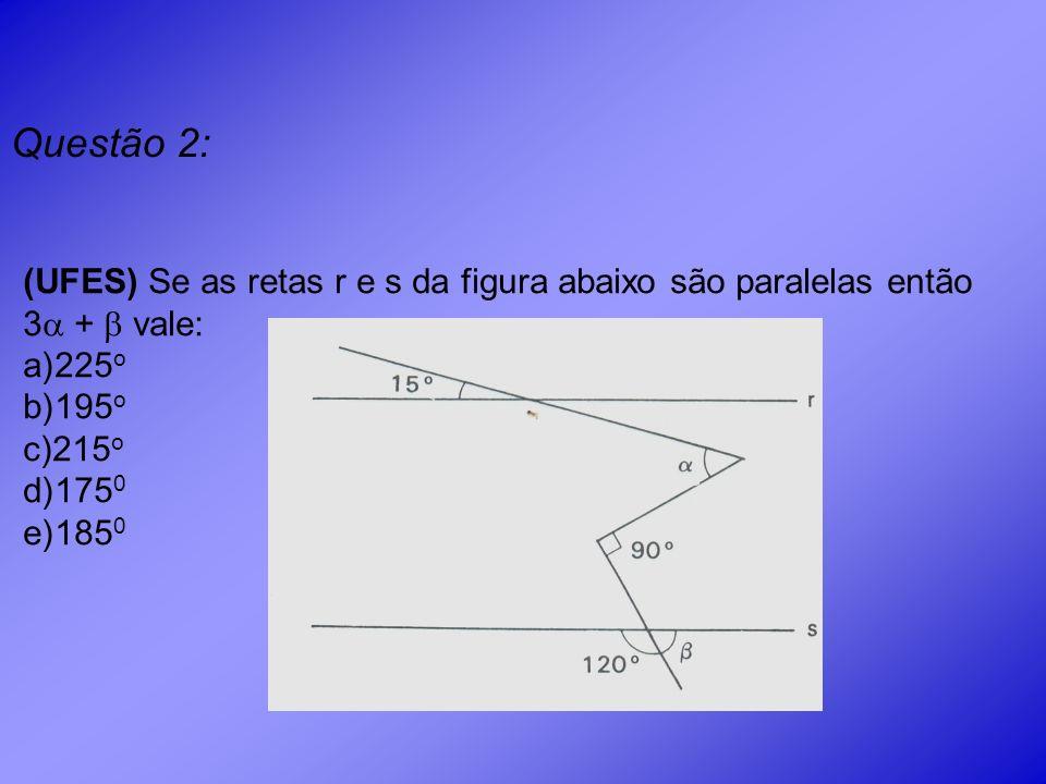 Questão 2: (UFES) Se as retas r e s da figura abaixo são paralelas então 3 +  vale: 225o. 195o.