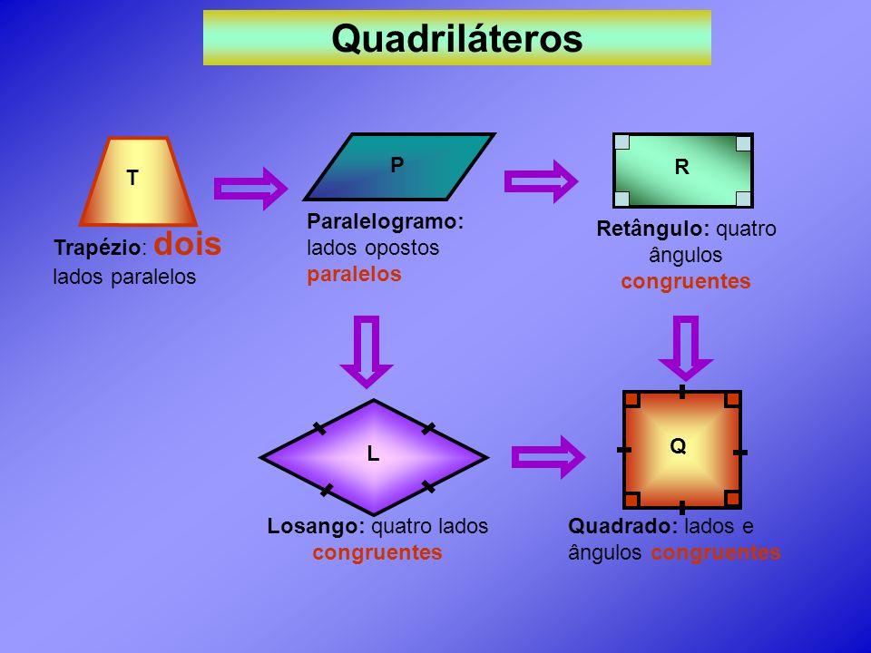 Quadriláteros T P R Paralelogramo: lados opostos paralelos