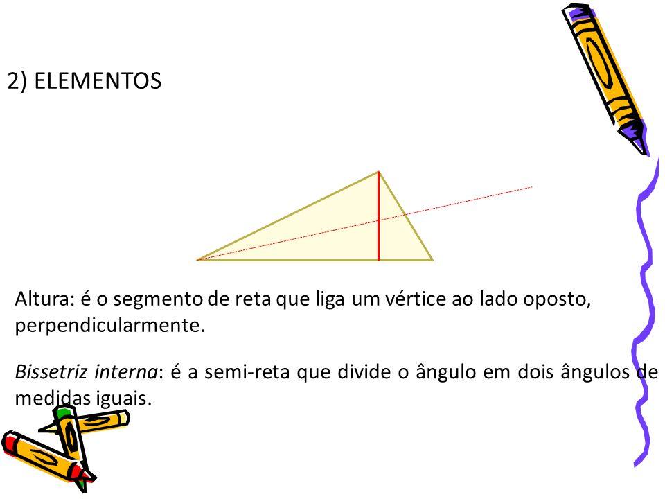2) ELEMENTOSAltura: é o segmento de reta que liga um vértice ao lado oposto, perpendicularmente.