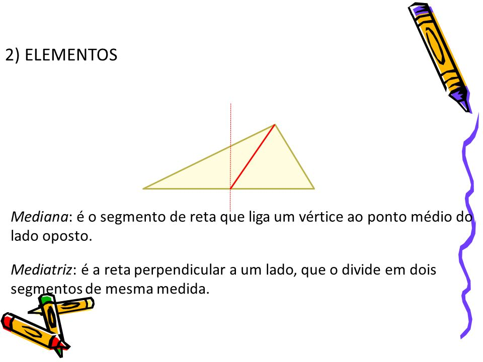 2) ELEMENTOS Mediana: é o segmento de reta que liga um vértice ao ponto médio do lado oposto.