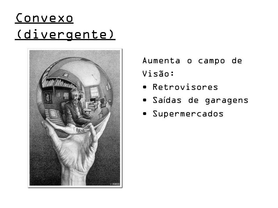 Convexo (divergente) Aumenta o campo de Visão: Retrovisores
