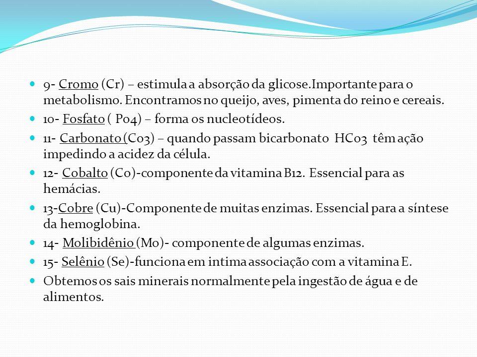 9- Cromo (Cr) – estimula a absorção da glicose