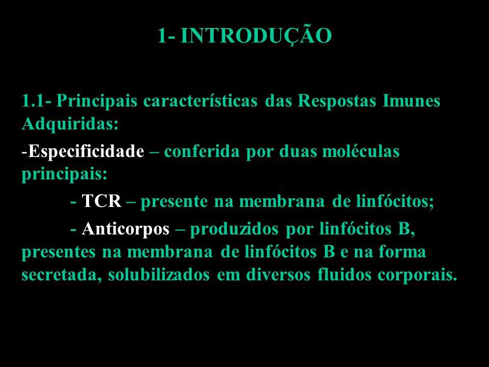 1- INTRODUÇÃO 1.1- Principais características das Respostas Imunes Adquiridas: Especificidade – conferida por duas moléculas principais: