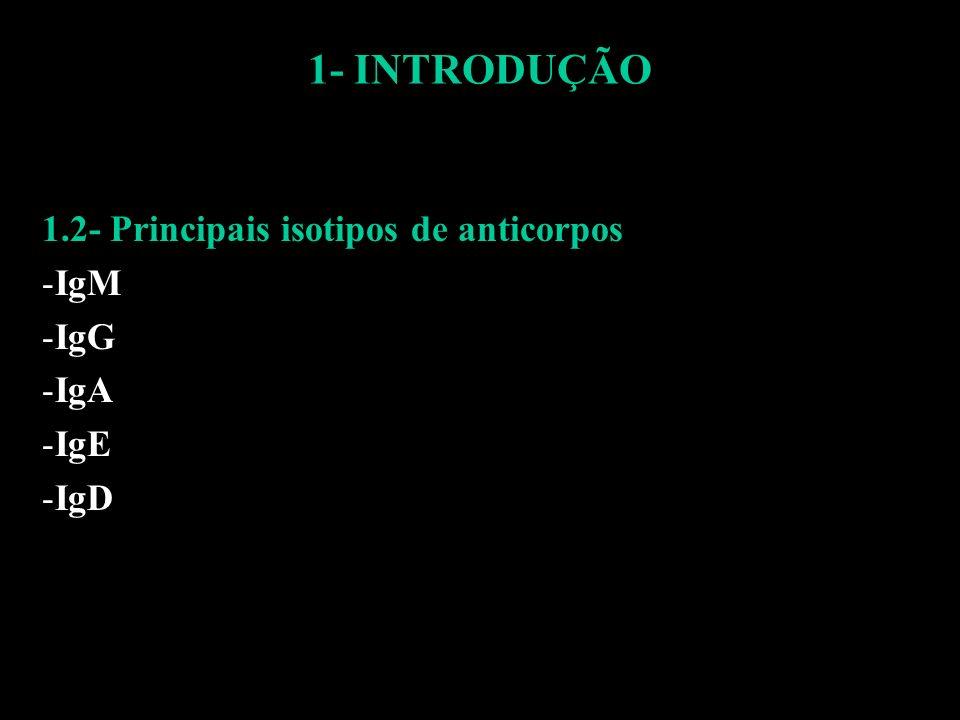 1.2- Principais isotipos de anticorpos IgM IgG IgA IgE IgD