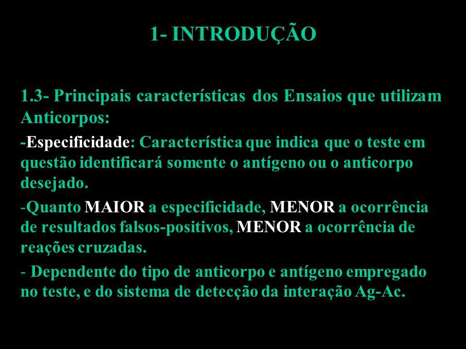 1- INTRODUÇÃO 1.3- Principais características dos Ensaios que utilizam Anticorpos: