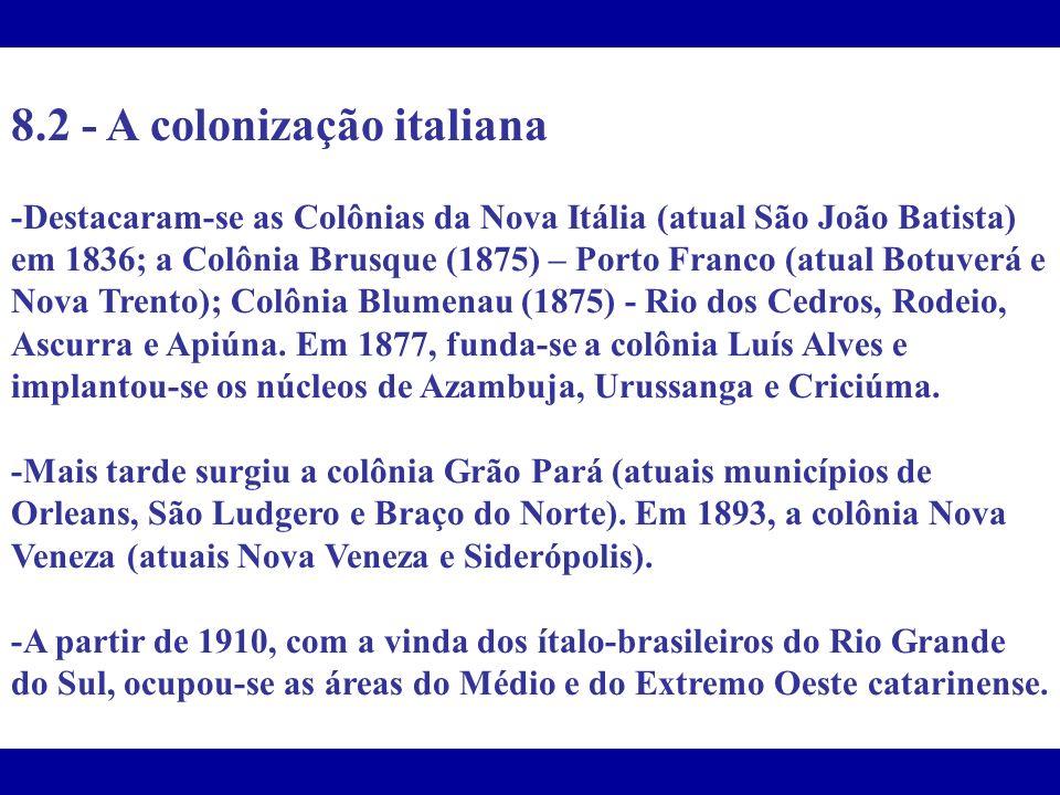 8.2 - A colonização italiana