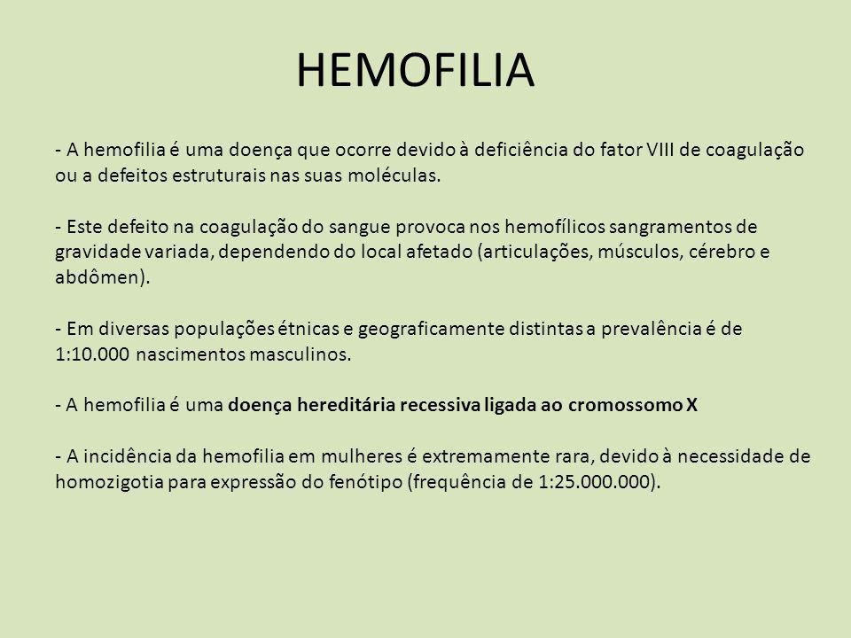 HEMOFILIA - A hemofilia é uma doença que ocorre devido à deficiência do fator VIII de coagulação ou a defeitos estruturais nas suas moléculas.