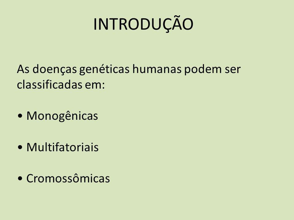 INTRODUÇÃO As doenças genéticas humanas podem ser classificadas em: