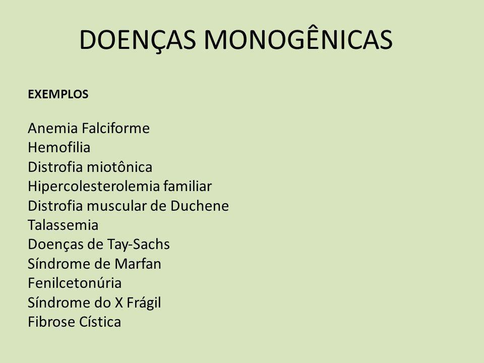 DOENÇAS MONOGÊNICAS Anemia Falciforme Hemofilia Distrofia miotônica