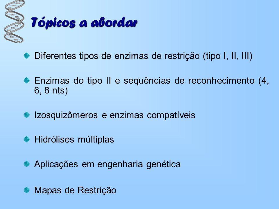 Tópicos a abordar Diferentes tipos de enzimas de restrição (tipo I, II, III) Enzimas do tipo II e sequências de reconhecimento (4, 6, 8 nts)