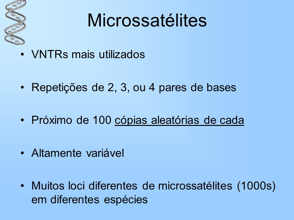 Microssatélites VNTRs mais utilizados