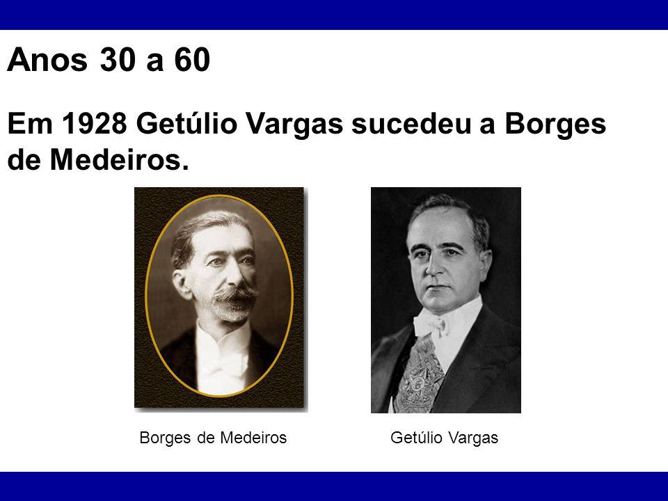 Anos 30 a 60 Em 1928 Getúlio Vargas sucedeu a Borges de Medeiros.