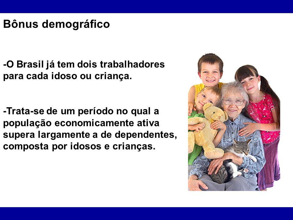 Bônus demográfico -O Brasil já tem dois trabalhadores